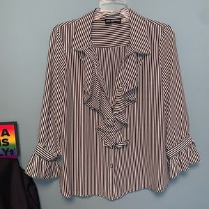Karl Lagerfeld Striped Ruffle Front Button Down